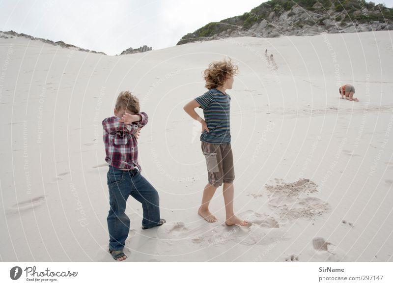 Child Nature Vacation & Travel Landscape Beach Boy (child) Sand Together Infancy Wind Wild Leisure and hobbies Hiking Free Adventure Threat