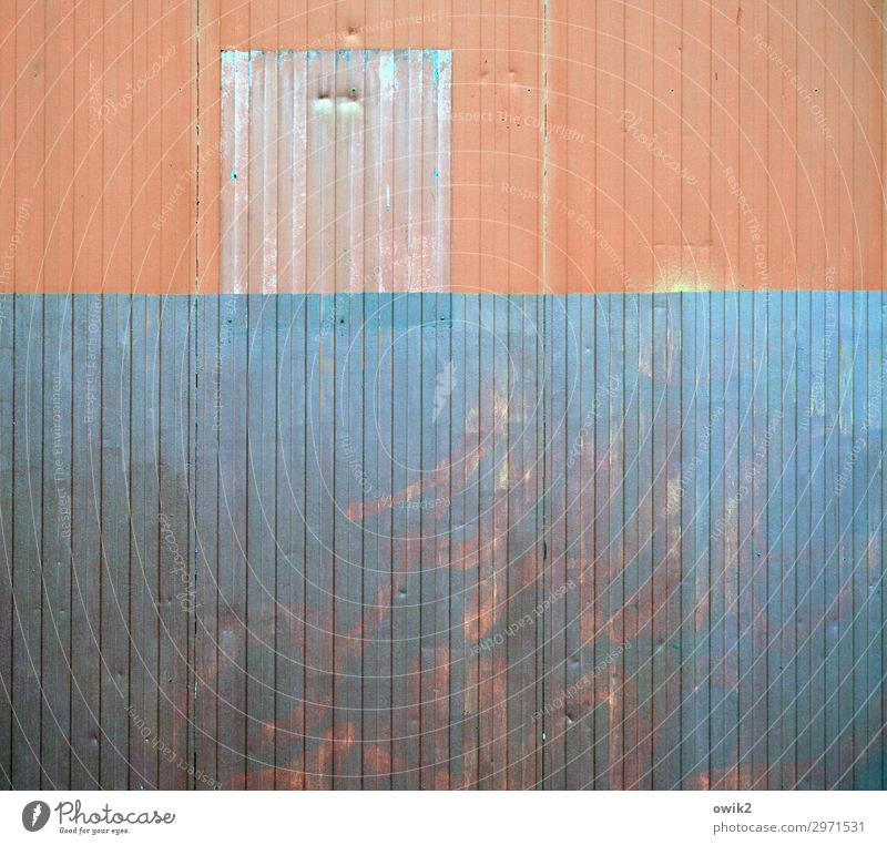 mural Wall (barrier) Wall (building) Tin Corrugated sheet iron Corrugated iron wall Metal Old Trashy Gloomy Town Orange Turquoise Shabby Derelict
