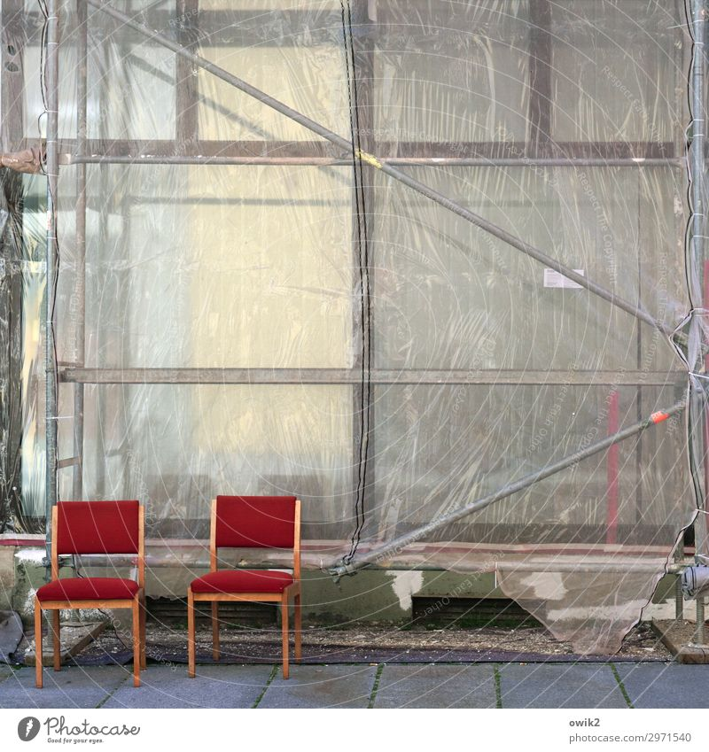 Sitting outside House (Residential Structure) Building Construction site Sidewalk Chair In pairs Together Red Bright Colours Patient Break Scaffold