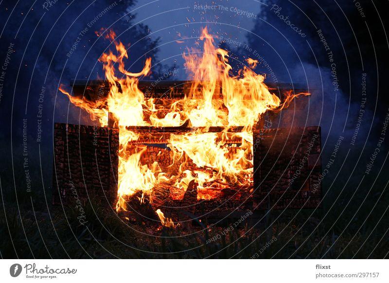 men's evening Fire Garden Warmth Cupboard Blaze Flame Colour photo Exterior shot Copy Space bottom Twilight