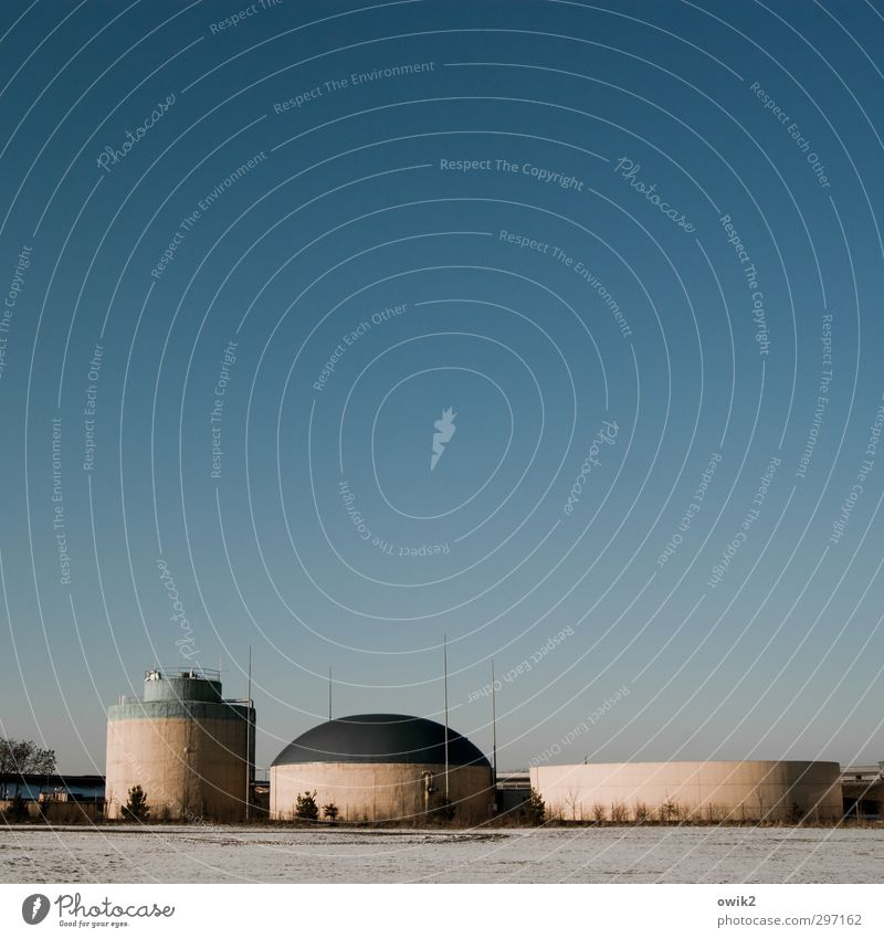Lusatia Environment Landscape Cloudless sky Horizon Field Skyline Deserted Manmade structures Storehouse Silo Simple Retro Round Blue Pink chunky Concrete block