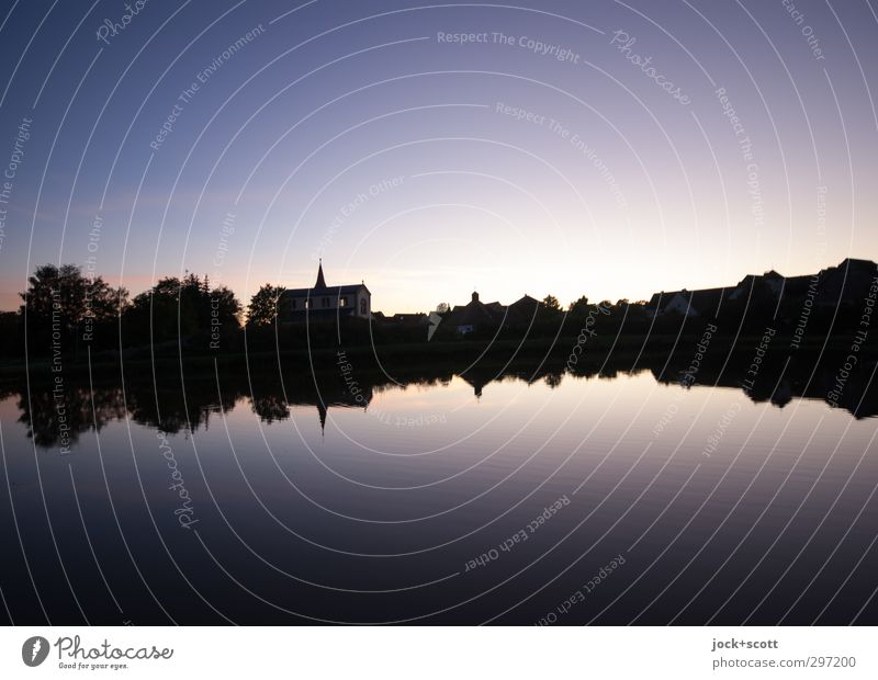 strength in stillness Nature Water Cloudless sky Horizon Summer Beautiful weather Tree Pond Middle Franconia Church Stripe Illuminate Fantastic Long Natural