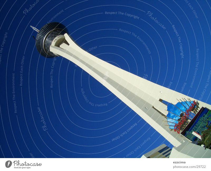 stratosphere tower Las Vegas Nevada Americas North America USA Blue Tower Tall