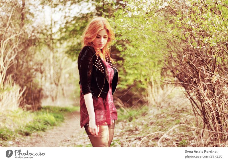 sunshine. Feminine Young woman Youth (Young adults) Head Hair and hairstyles Face 1 Human being 18 - 30 years Adults Nature Beautiful weather Bushes Fashion
