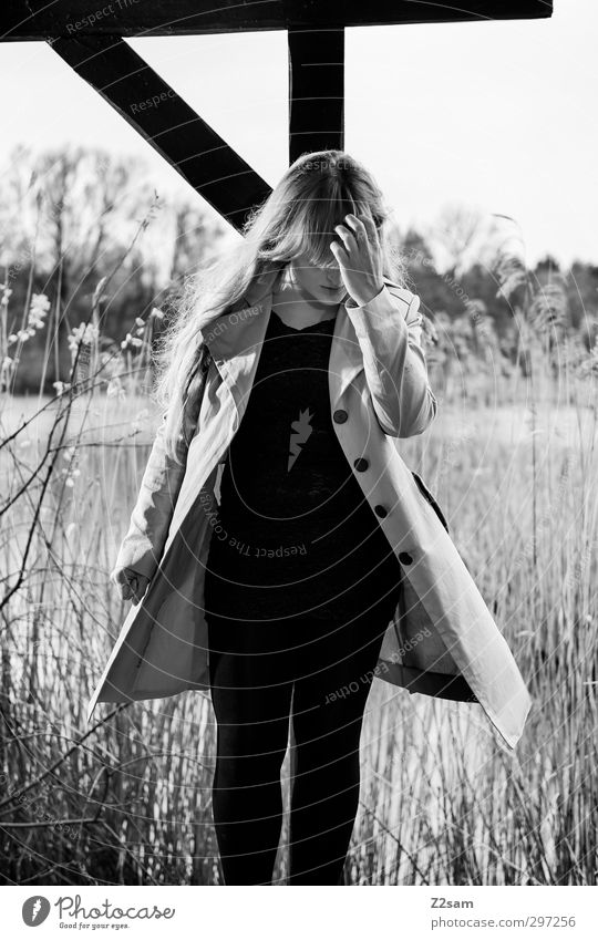 so simply Elegant Feminine Young woman Youth (Young adults) 1 Human being 18 - 30 years Adults Nature Landscape Spring Bushes Wild plant Common Reed Lakeside