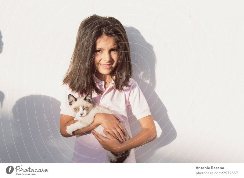 little children and pet puppy cat in outdoors image Life Child Human being Animal Brunette Pet Cat Cute Puppy Domestic people real people Home responsability