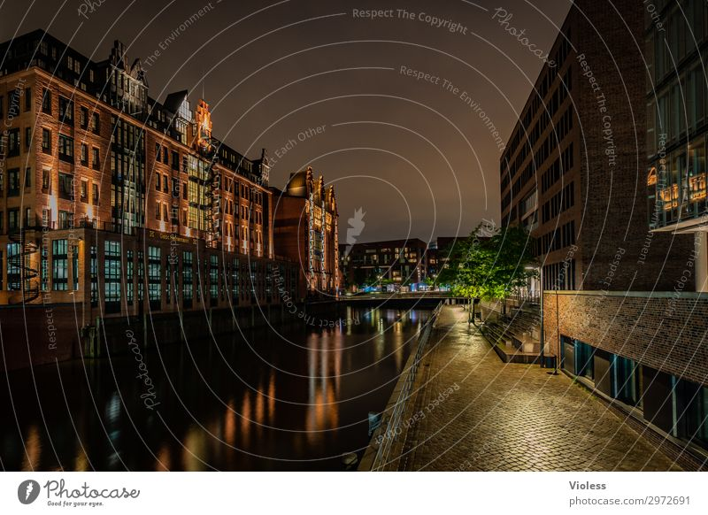 At night in Hafencity Port City Downtown Old town Harbour Manmade structures Building Architecture Tourist Attraction Monument Glittering Illuminate Dark