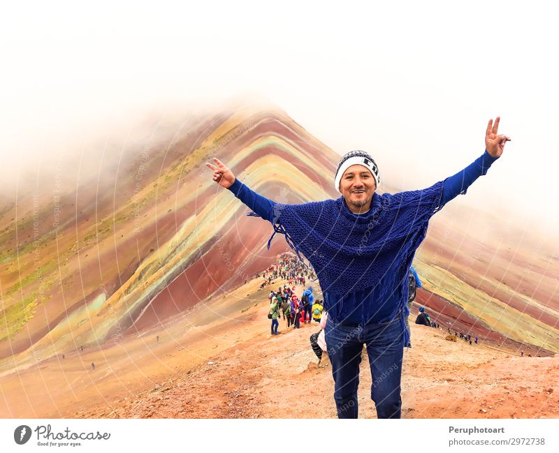 tourist enjoying the view of the incredible Rainbow Mountains Vacation & Travel Tourism Hiking Human being Man Adults Nature Landscape Elements Sky Fog Rock