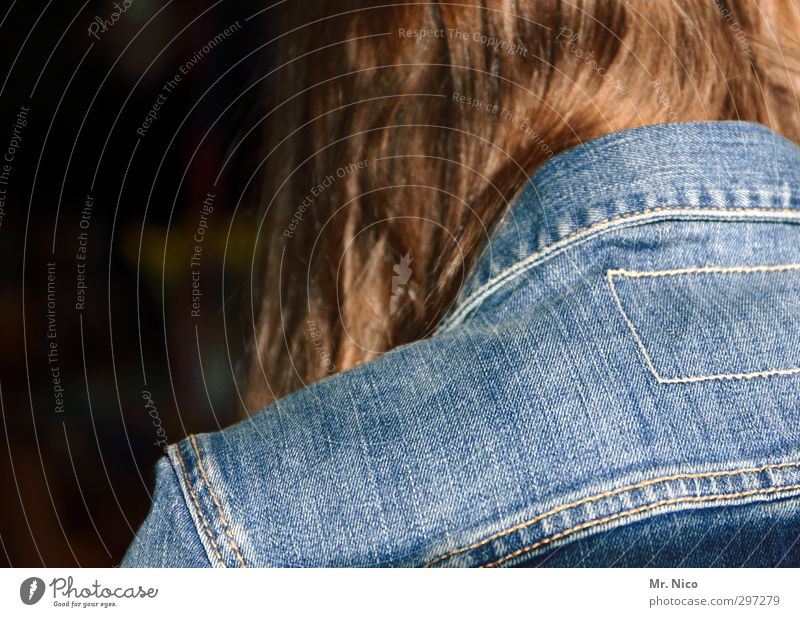 jacket like pants Lifestyle Feminine Youth (Young adults) 1 Human being 13 - 18 years Child Fashion Hair and hairstyles Brunette Long-haired Blue Jeans jacket