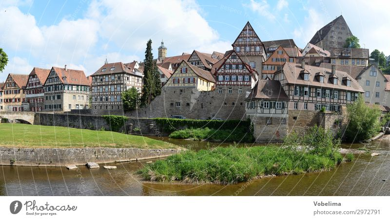 Panorama Schwäbisch Hall House (Residential Structure) Clouds Summer Brook River Germany Europe Small Town Old town Building Architecture half-timbered house