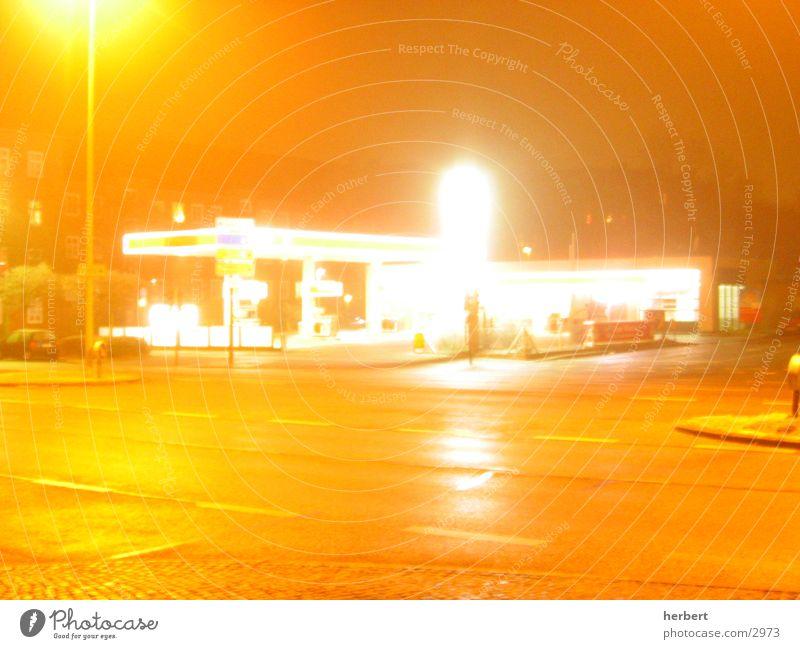 midnite tank Petrol station Night Long exposure Mixture