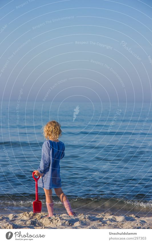 blue Vacation & Travel Far-off places Summer Beach Ocean Waves Human being Child Girl Infancy Life Body 1 3 - 8 years Water Cloudless sky Baltic Sea Relaxation