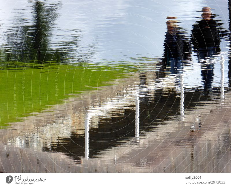 Human being Water Meadow Stone Going Stairs Handrail Banister River bank Surrealism Downward
