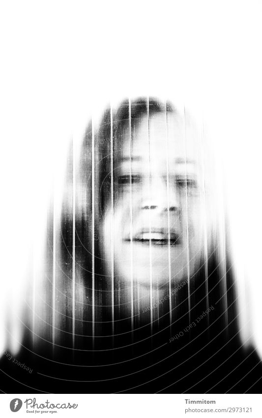 Happy. Birthday. Human being Feminine Woman Adults Head 1 Glass Communicate Esthetic Gray Black White Emotions Portrait photograph Pane Hair and hairstyles