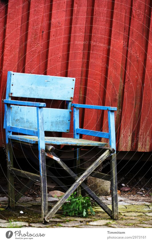 Somehow it goes on... Vacation & Travel Denmark Fishermans hut Facade Wood Wait Simple Trashy Blue Red Black Serene Patient Workplace Chair Empty Colour photo
