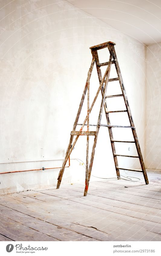 stepladder Old building Work and employment Construction site Craftsperson Ladder Painter Wall (barrier) Apartment house Deserted