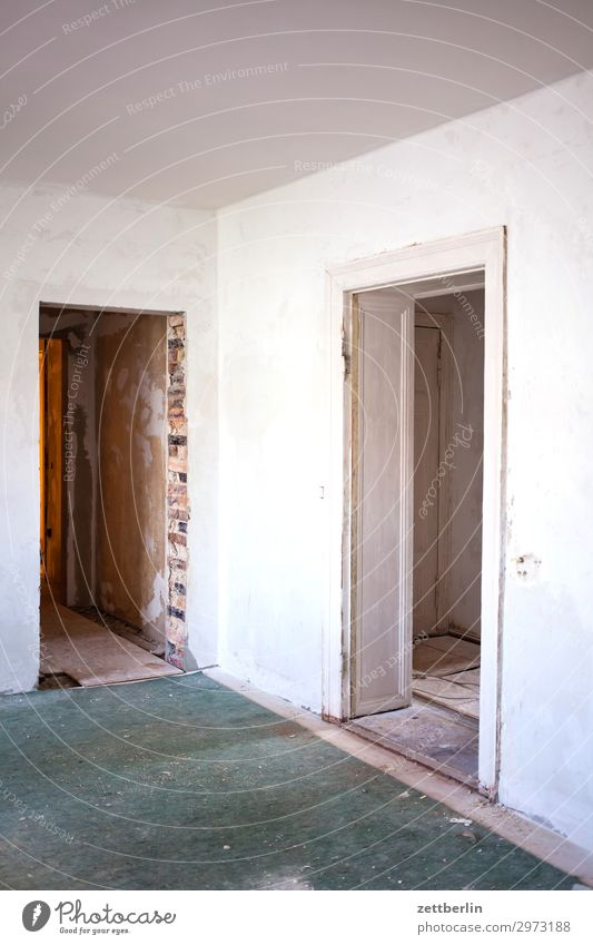 Two door frames Old building Period apartment Construction site Wall (barrier) Room Interior design Redecorate Modernization Redevelop Door Doorframe