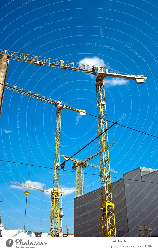 Construction cranes in the wind Construction site Commerce Structural engineering Flat (apartment) House location Apartment Building Tower block Crane