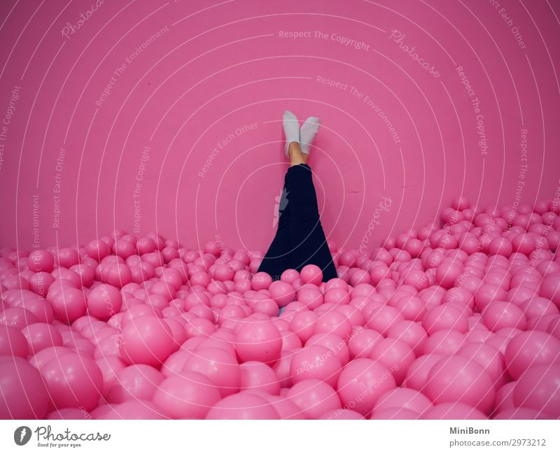 Relaxation in the ball pool Wellness Contentment Calm Swimming pool Leisure and hobbies Playing Party Event Dive Human being Feminine Young woman