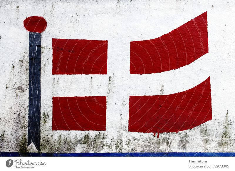 crafted Vacation & Travel Denmark Navigation Inland navigation Fishing boat Flag Hull Sign Line Authentic Simple Blue Gray Red Black Emotions Flag of Denmark