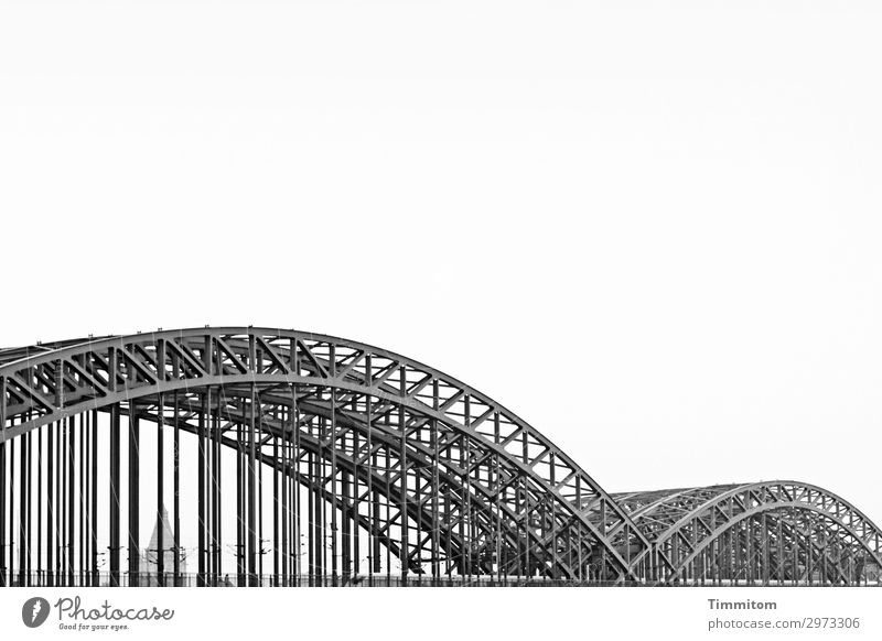 Across the Rhine! Tourism Sky Cologne Bridge Manmade structures Tourist Attraction Landmark Hohenzollern Bridge Transport Rail transport Metal Esthetic Simple