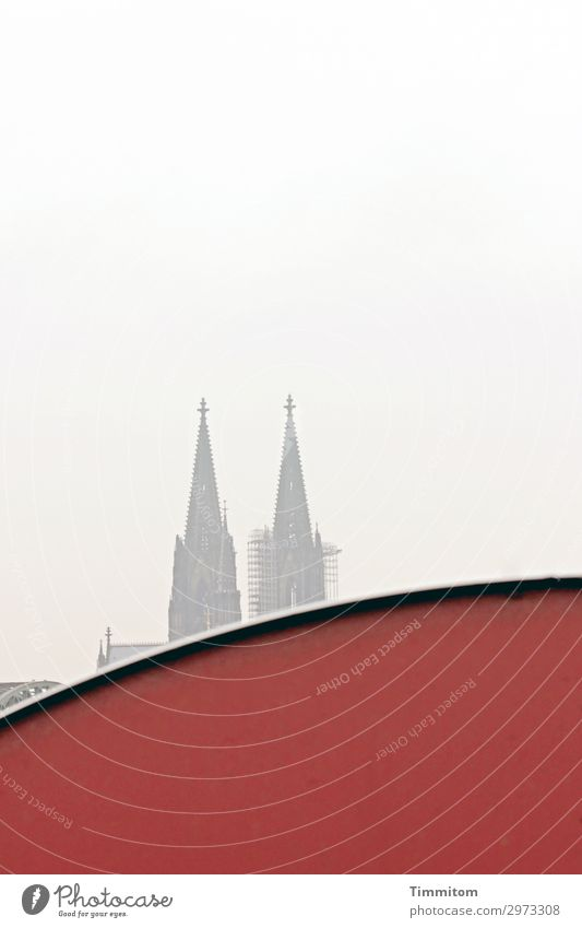 You're always on the wall then! Tourism Cologne Town Facade Cologne Cathedral Esthetic Red Emotions Landmark Familiar Sky Railway bridge Dome Colour photo
