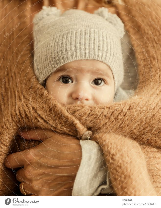 boy inside the jacket Winter Child Human being Masculine Baby Boy (child) Man Adults Mother Grandmother Family & Relations Infancy Head Face Hand 0 - 12 months