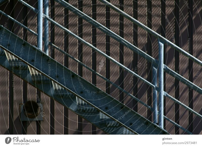Outdoor staircase Industrial building Industrial plant Building Architecture Stairs Facade Dirty Dark Sharp-edged Simple Firm Gloomy External Staircase Banister