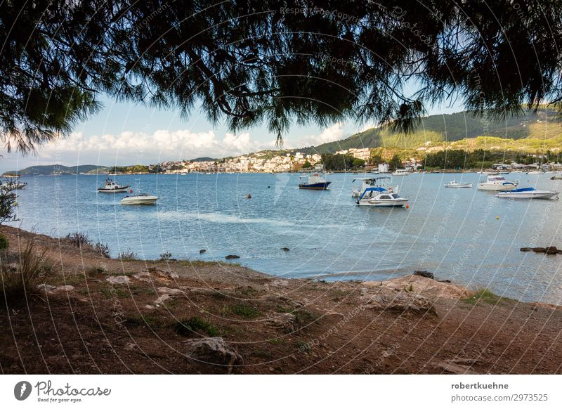 View of the city of Skiathos in Greece Tourism Vacation & Travel Coast Island skiathos Europe Village Port City Harbour Watercraft Navigation Boating trip