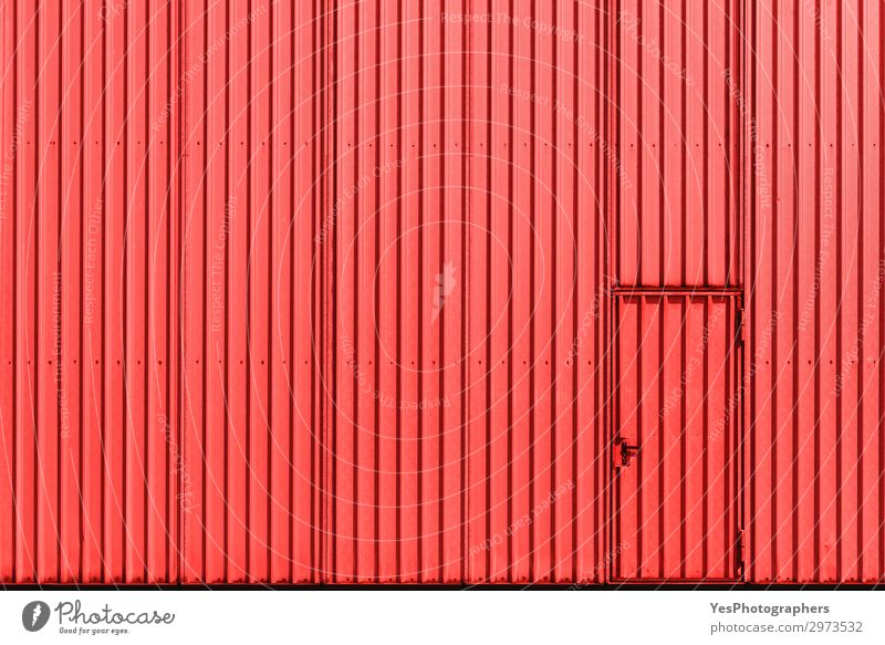 Industrial building facade with red metal wall and door Factory Industry Business Building Architecture Facade Metal Steel Modern Red Access aluminum background