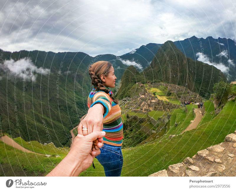 couple contemplating the terraces over Machu Picchu Vacation & Travel Tourism Adventure Mountain Couple Hand Culture Landscape Sky Virgin forest Ruin