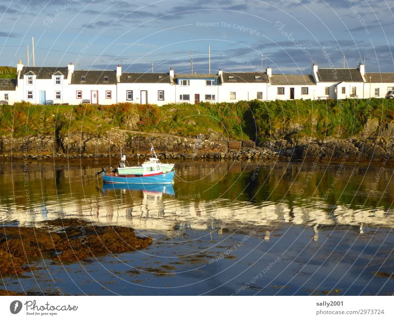 Scottish terraced houses.... Summer Coast Ocean Scotland House (Residential Structure) Detached house Fishing boat Harbour Maritime Loneliness Serene Bay