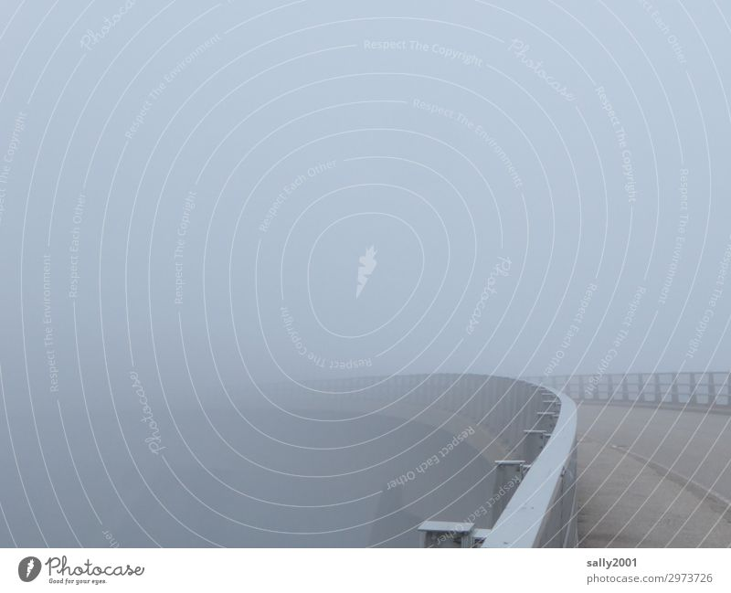 nebulous Bridge into the Unknown... Bad weather Fog Traffic infrastructure Crash barrier Threat Gray Loneliness Apocalyptic sentiment Cold Calm Stagnating