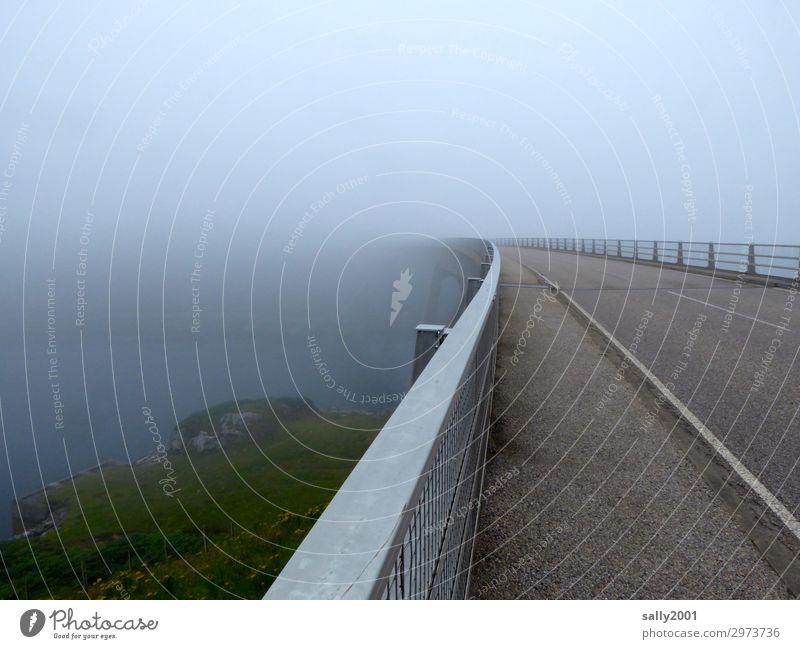 scottish fog... Bad weather Fog Traffic infrastructure Bridge Crash barrier Traffic lane Threat Dark Loneliness Apocalyptic sentiment Freedom Horizon