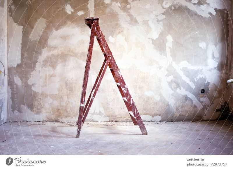 Old ladder Old building Period apartment Construction site Ladder Wall (barrier) Room Redecorate Modernization Redevelop Stand Steep Wall (building)