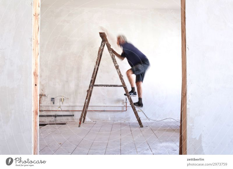 Human being Man Interior design Wall (building) Living or residing Flat (apartment) Room Door Construction site Climbing Career Ladder Redecorate Old building