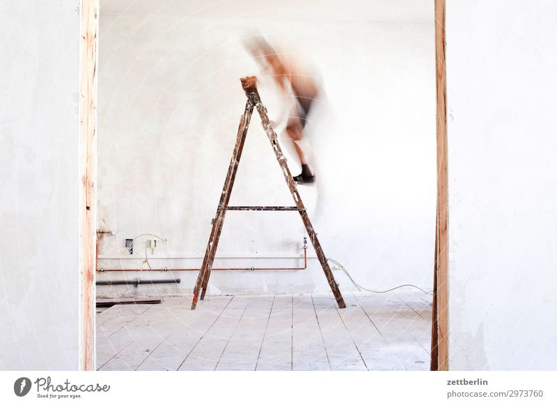 Man on the ladder again Old building Period apartment Go up Construction site Career Ladder Climbing Wall (barrier) Human being Room Interior design Redecorate