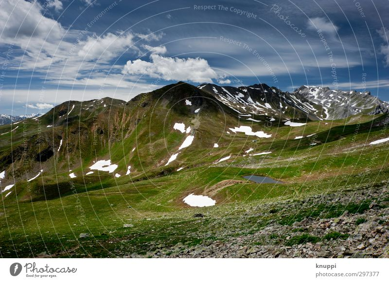 2350 m.a.s.l. Environment Nature Landscape Plant Elements Earth Water Clouds Sun Sunlight Summer Beautiful weather Ice Frost Snow Grass Alps Mountain Peak