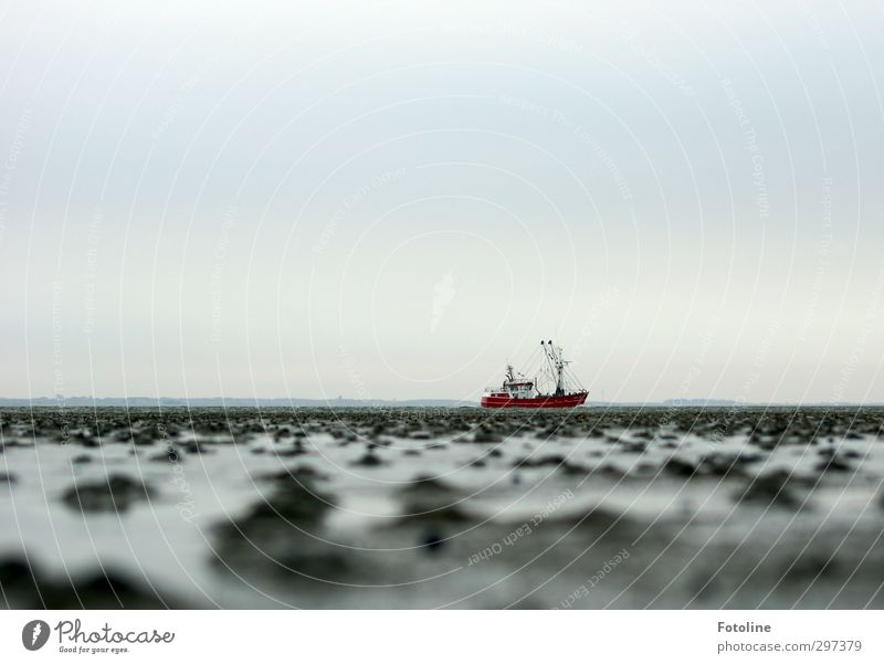 Sky Nature Water Red Ocean Landscape Environment Cold Coast Gray Watercraft Earth Wet Elements North Sea Mud flats