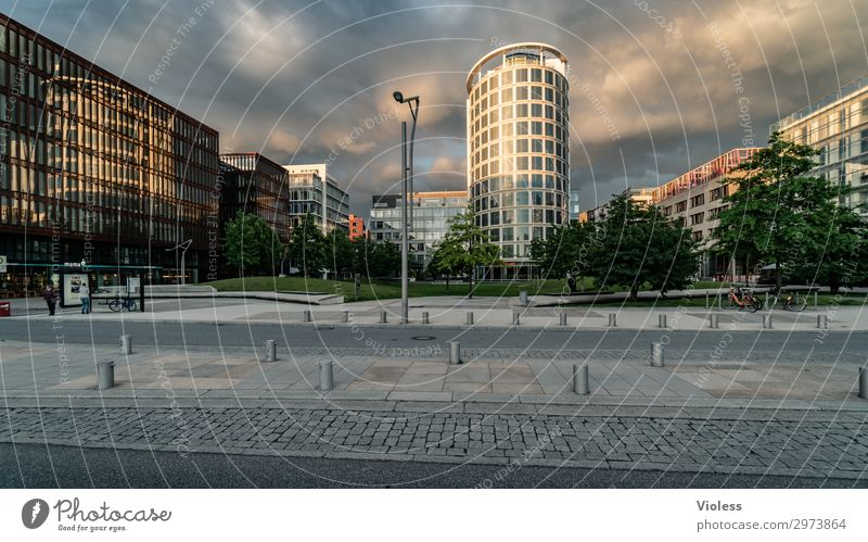 hafencity Harbor city Port City Downtown High-rise Park Manmade structures Architecture Facade Discover Hip & trendy Modern Hamburg Clouds Exterior shot Light