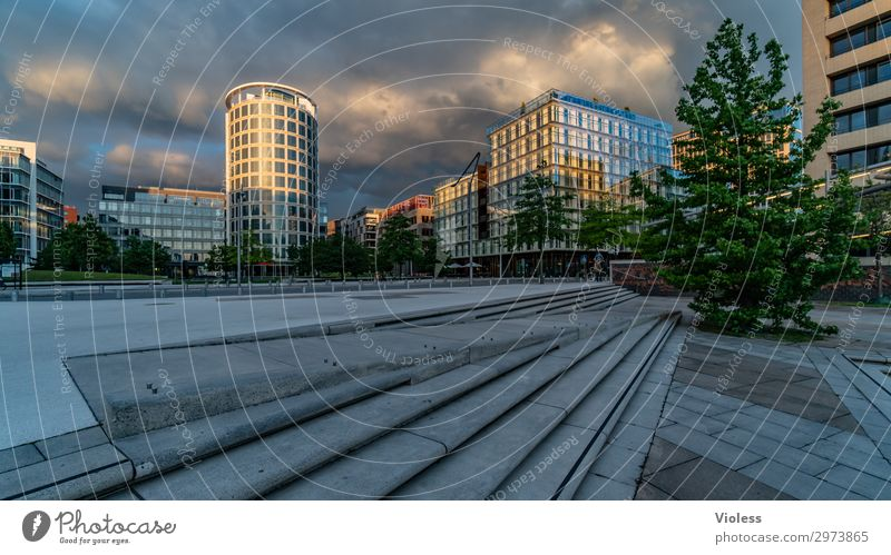 HafenCity III Harbor city Port City Downtown High-rise Park Manmade structures Architecture Facade Discover Hip & trendy Modern Hamburg Clouds Exterior shot