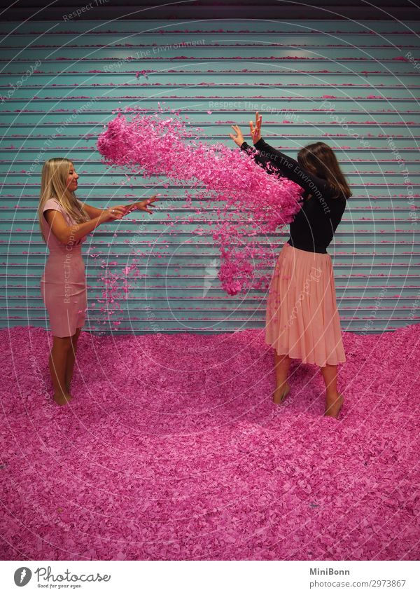 Confetti battle in pink Lifestyle Joy Happy Beautiful Healthy Wellness Contentment Party Feasts & Celebrations Human being Feminine Young woman