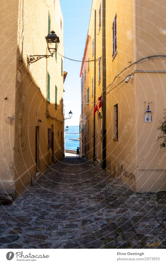 the italian island sardinia in mediterranean sea street architecture city old alley town narrow building europe house italy travel wall ancient stone medieval