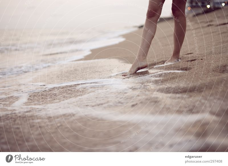 A dream of summer I Summer Ocean Thin Elegant Beautiful Wet Happy Calm Spain Beach Legs Relaxation Vacation & Travel Joy Sand Sandy beach Surf Waves Evening