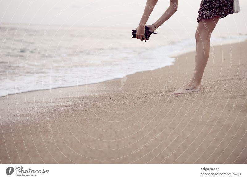 A dream of summer II Summer Beach Ocean Feminine Young woman Youth (Young adults) Legs Feet Thin Beautiful Wet Eroticism Spain Relaxation Joy Sandy beach Waves