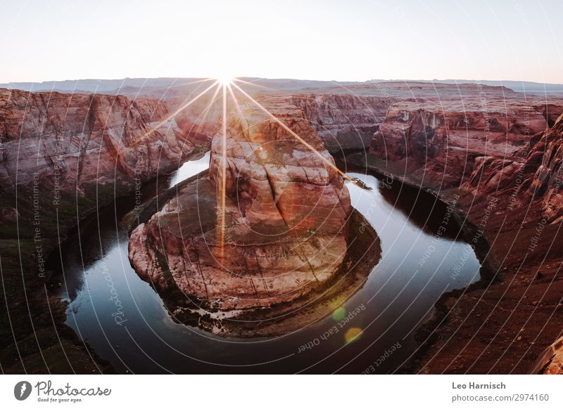 horseshoe bend Vacation & Travel Tourism Trip Adventure Far-off places Freedom Summer Summer vacation Mountain Hiking Nature Elements Earth Sun Drought Canyon