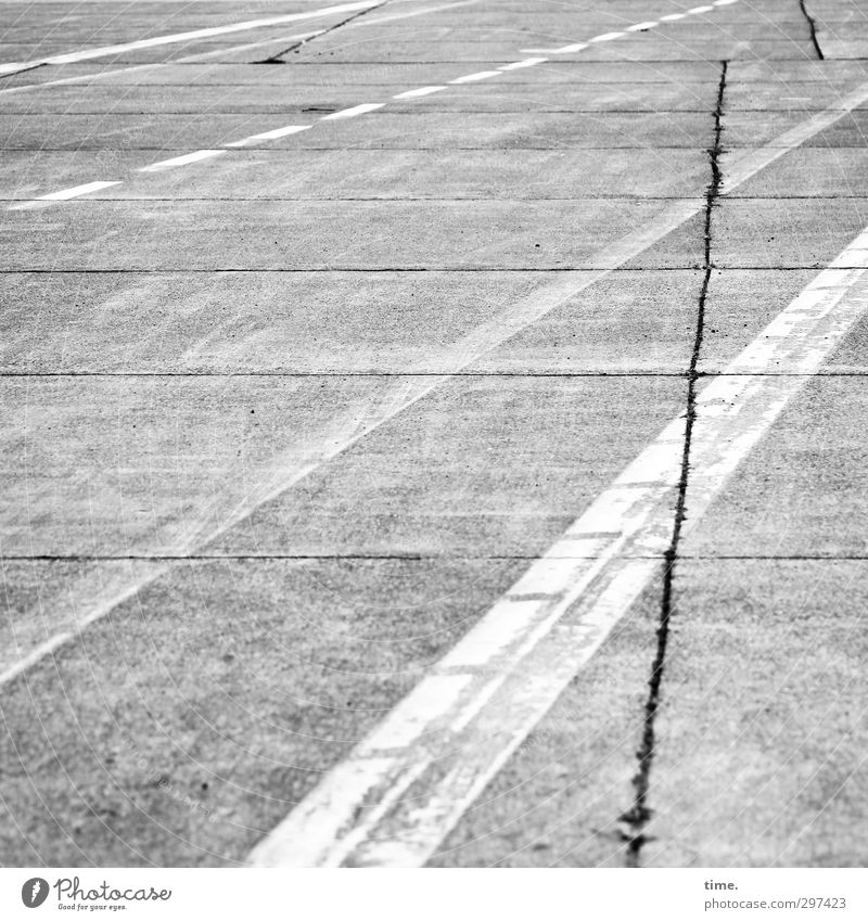 Lifelines #63 Lanes & trails Asphalt Concrete Crack & Rip & Tear Tar Aviation Airport Airfield Runway Dirty Simple Historic Thin Town Gray White Authentic