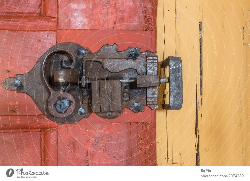 Wrought-iron castle in a historic house. Door Door lock door handle door fitting Building House (Residential Structure) Wood oak wood Iron Old Ancient