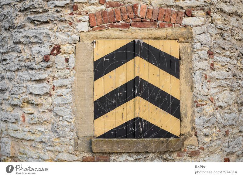 Shutter in an old tower. Wall (barrier) wall anchor Wall (building) rampart brick Sandstone Tradition half-timbered multiple Joist Architecture