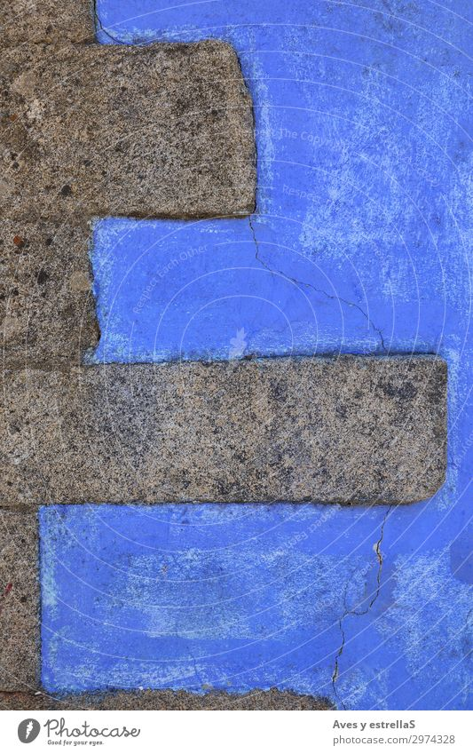 Blue wall with stone bricks Wall (building) Stone Brick Consistency Old Pattern Cement Architecture Building Construction Block Concrete Surface
